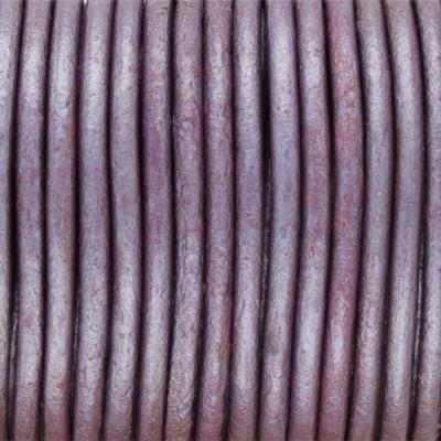 Rundriemen, Lederschnur, 100cm, 1,5mm, METALLIC BROMBEERE