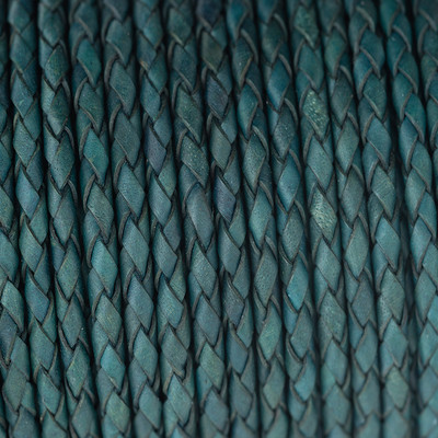 Lederband rund geflochten, 100cm, 3mm, PETROL Vintage