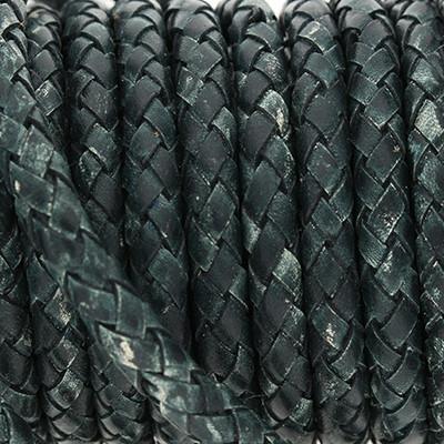 Lederband rund geflochten, 100cm, 6mm, DRAGONFLY meliert